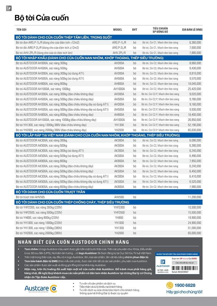 bảng báo giá cửa cuốn austdoor 6